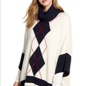NWOT TOMMY HILFIGER Argyle Poncho Sweater-M